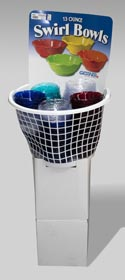 Bowl Plastic 13 Oz Swirl In Plastic Basket Display 4colors Clear,blue,green And Red