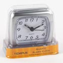 Clock Alarm Gray W/white Face Quartz Movement W/snooze Funct #tc608fd