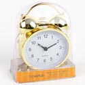 Clock Alarm Metal Stricker Bell Gold Finish Quartz Movement #tc1204ic