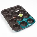 Bakeware 12 Cup Muffin Pan Green Bakers Secret *7.99* 10.6 X 1.25 X 13.9