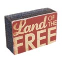 Wall Sign Block Land Of The Free 6x2x4 Mdf (4.00)