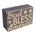 Wall Sign Block God Bless Amerca 6x2x4 Mdf (4.00)