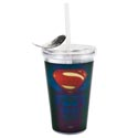 Tumbler Insulated 16 Oz Superman Dawn/jstce Acrylic W/straw(4.75)