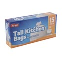 Trash Bags 15 Ct - 13 Gal Tall Kitchen - White