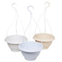 Planter Hanging Round 10.5in Dia Marble White, Marble Cream