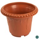Planter 9.75 Round X 7.5h Green, Terra Cotta In Pdq #hg3003