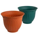 "Planter 9.25""dia X 7.5""h Column Ivy Design Terra Cotta, Green No Punched Out Holes #6045"