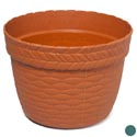"Planter Weave Design Round 10"" X 7.5""h 2 Colors #6048 No Punched Out Holes"