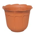 Planter 12.25 Inch Round Tulip Design Terra Cotta, Green #3615 No Punched Out Holes
