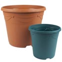 Planter Round 9 Inch 2 Colors Terra Cotta, Hunter Green With Holes Ref #decora 9