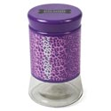 Pet Treat Jar- Glass- 33.5 Oz Screw On Lid- Purple