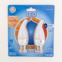 Light Bulbs 2pk Led 4w = 40w Ge Deco Med Base Carded Frosted Finish