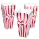 Popcorn Holder 2pk Red/white Stripes 3.75 Sq X 7.75h In Pdq 127g 4.5 Oz