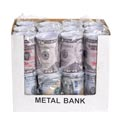 Bank Metal W/removable Lid $50 & $100 Design In 24pc Pdq 5in H X 3in D Upc/opp Bag