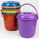 Bucket W/matching Plastic Handle And Lid 6.6 Gal 6 Colors 14 X 5