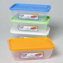 Food Storage Container 72 Oz Rectangular 4 Colors Lids In Pdq Clear/frost Bottom 119g #1454