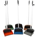 Dust Pan & Broom Set 6 Clrs Dust Pan/rubber Lip & 29in Pole Dp003