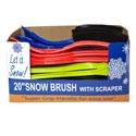 Snow Brush W/ice Scraper 20in 5 Colors Pdq Display #bh004