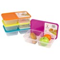 Food Storage Cont 2 Compartments Clear Bottom 6 Lid Colors #1324