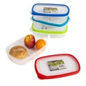 Food Storage Container Rect 2 Sectm W/rubber Rim On Lid 1l 10.0 X 6.3 X 2.2h 4 Colors