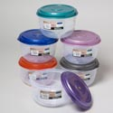 Food Storage Container 64oz/2qt 6 Metallic Lid Colors Clear Bottom 139g #fiesta 2500