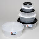 Food Storage Container Round 5pc Set Nested W/air Vent 2 Color Combo Clear / Black And White