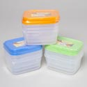 Food Storage Container Rect 3pk Clear Bottom/4 Color Lids In Pdq #vega Continer #2