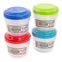 Food Storage Container Round 3pk 4 Color Lids/clear Bottom In Pdq #new Cont 1
