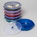 3-sec Plate W/lid & Microwave Vent 6 Color Bottoms/clear Lid #sindoora