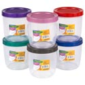 Food Storage Container Round W/screw Top Lid 56 Oz 6 Color Lids Clear Bottom #star 1750