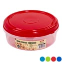 "Cookie Container Round 8.4""dia 6 Color Lids -clear Bottom #sapphire Container 3"