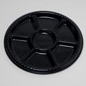Black Serving Platter 7 Comp 16 Inch Round In Pdq