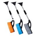 Snow Brush With Ice Scraper And 34.5 Inch Pole 3 Color Brush Orange,blue,gray