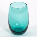 Stemless Wine 15 Oz Aquamarine Glass