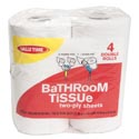 Bath Tissue 4pk 2ply Double Roll Valu Time Brand- Red Pack