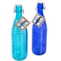Bottle Glass 34oz Spiral W/hermetic Clip 2 Asst Colors Cobalt Blue & Aqua