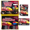 Candy Cars 3 Lollipop Rings 3pk 2.46 Oz Gummy Theather Box In Floor Display