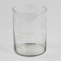 Vase 8in Wide Cylinder Clear Glass W/writing #2555
