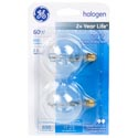 Light Bulbs 2pk G16.5 Globe 60w Ge Halogen Candle Base *4.99* Carded Clear