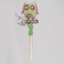 Garden Stake Owl Wood 24in High (7.00) # 62538