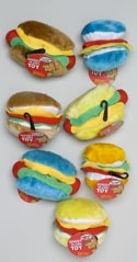 Dog Toy Plush W/squeaker Hot Dog Hamburger 4 Colors In Pdq Dspl