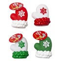 Dog Toy Christmas Viny Mitten 4in W/squeaker 4 Colors In Pdq Snowflake Design