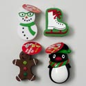 Dog Toy Christmas Vinyl 4 Asst Snoman/skate/ginger/penguin W/ Squeaker In Pdq