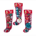 Dog Toy Christmas Stocking 4pc 3 Assorted In Pdq