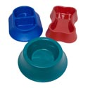Pet Bowl 3 Shapes 6 Metallic Colors In 70pc Pdq Asst #1 Round/divided/bone Shaped