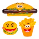 Dog Toy Vinyl 3 Food Styles With Squeaker & Hang Tag In Pdq