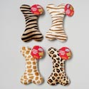 Dog Toy Plush 8 Inch Bone With Squeaker Animal Prints In Pdq #p09001-p09002