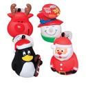 Dog Toy Christmas Vinyl 4 Asst Deer/snowmn/santa/penguin In Pdq Hang Tag #s66001