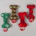 Dog Toy Christmas 8in Bone 4asst Snowflake Print Fleece In Pdq 4 Colors W/squeaker - Hangtag
