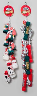 Christmas Dog Toy Vinyl With Squeaker 2 Assorted On Chain Hang Tag #s66005